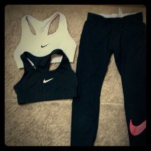 Bundle of Nike capris and sports bras, size S